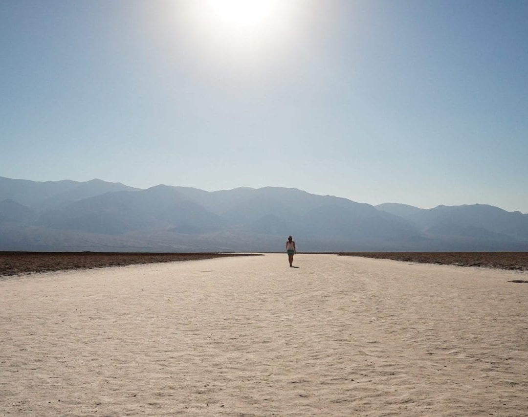 Lowest point on earth, 282ft below sea level, badwater basin in death valley