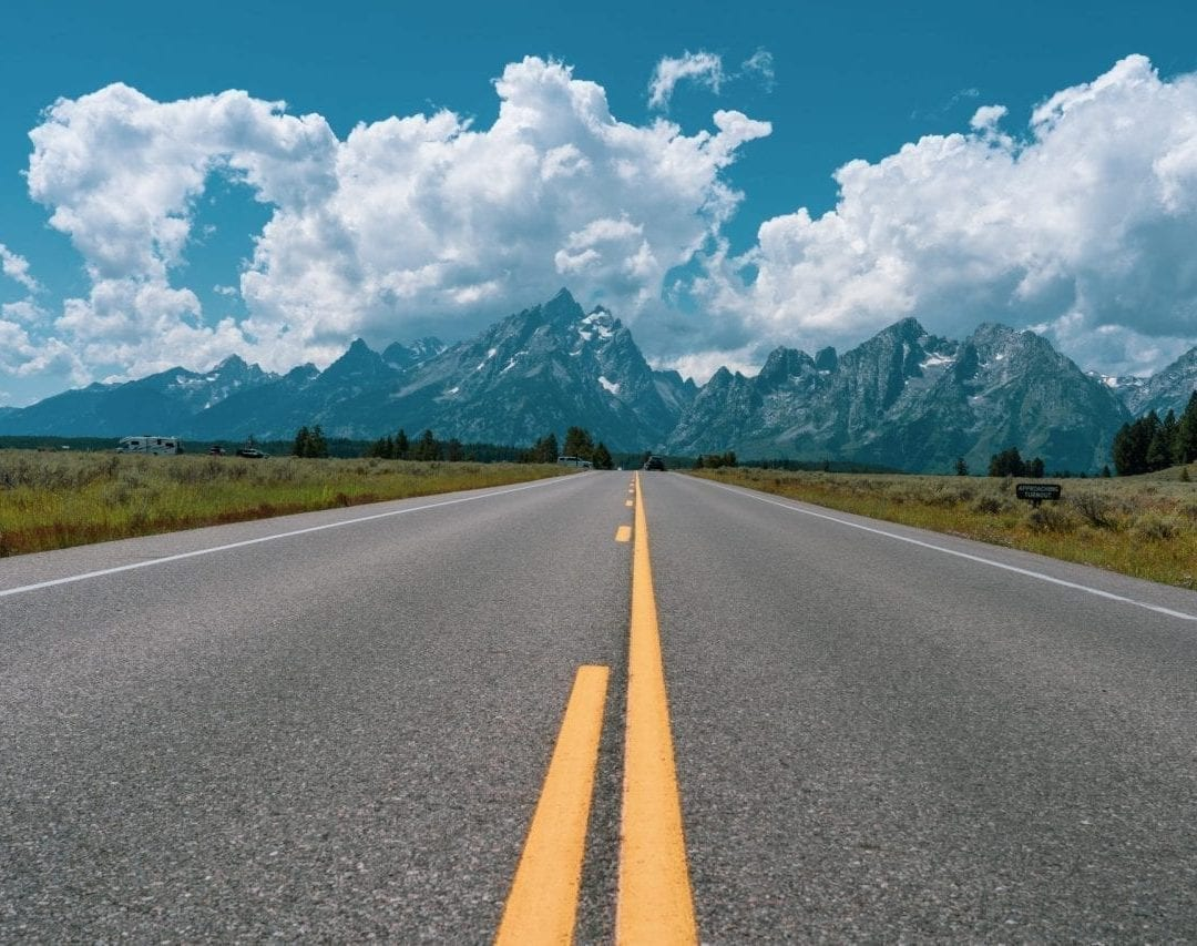 Road to Grand Teton National Park, driving around grand teton is one of the best things to do in Jackson Hole Wyoming