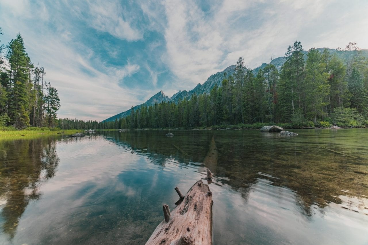 Mirror reflection in crystal clear waters of String Lake