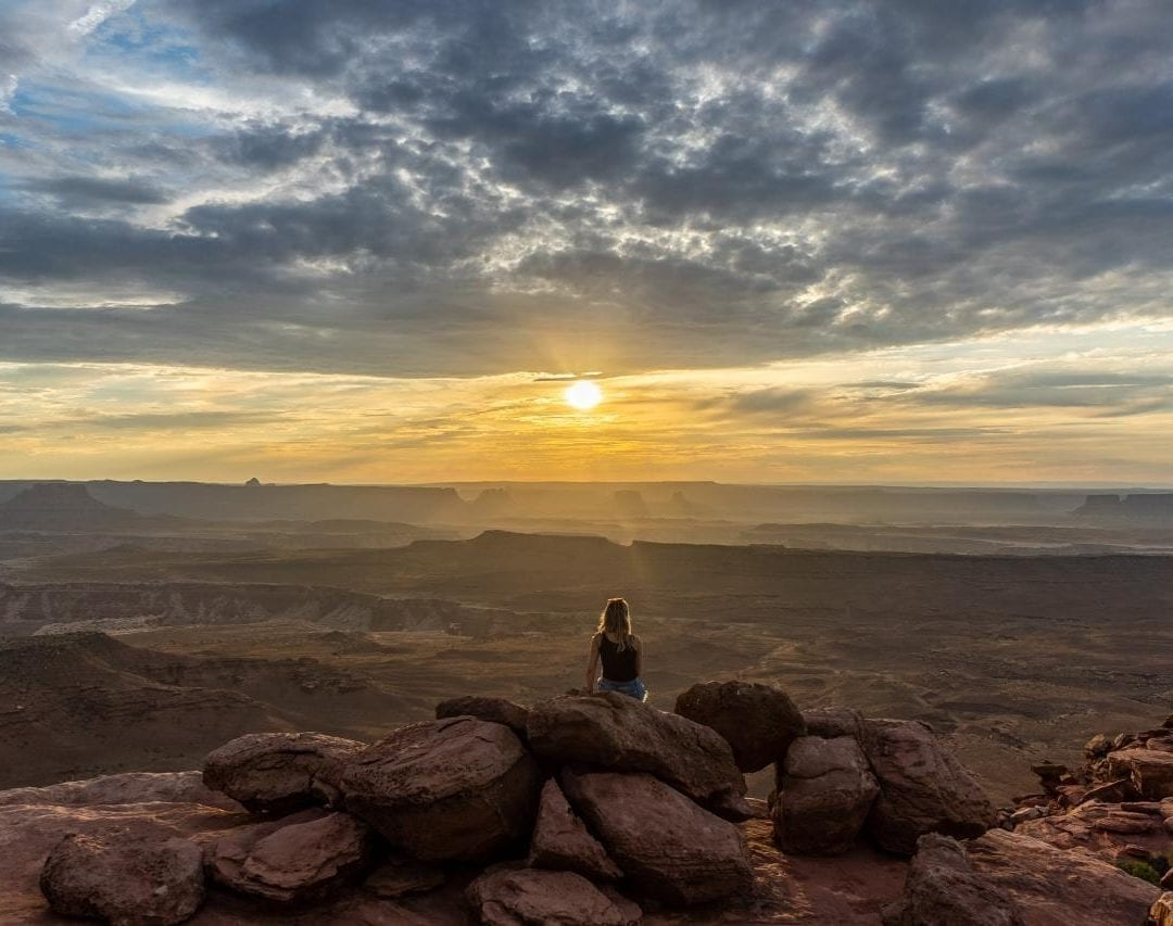 Sunset at grand view point, canyonlands national park,  island in the sky