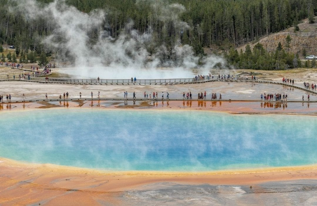 Crowds at Grand Prismatic Spring as viewed from the Fairy Falls Overlook (Pin #4 in Yellowstone National Park Map above)