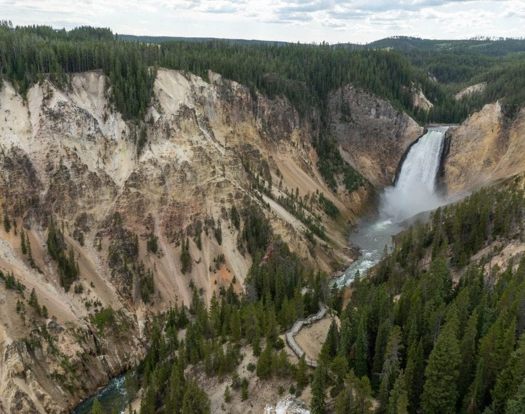 Lower Falls and the Grand Canyon of Yellowstone (Pin #9 in Yellowstone National Park Map above)