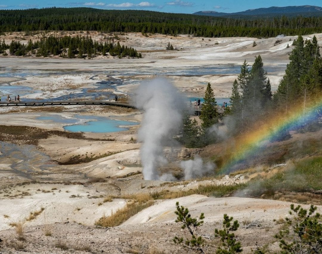 View of Norris Basin from the trailhead with a rainbow formed due to the mist formed by the geyser eruption (Pin #6 in Yellowstone National Park Map above)