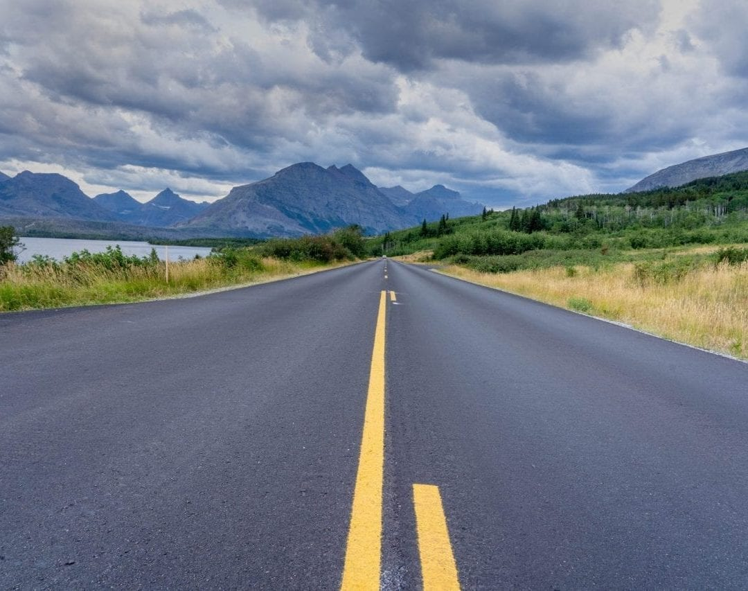 Road picture in glacier national park