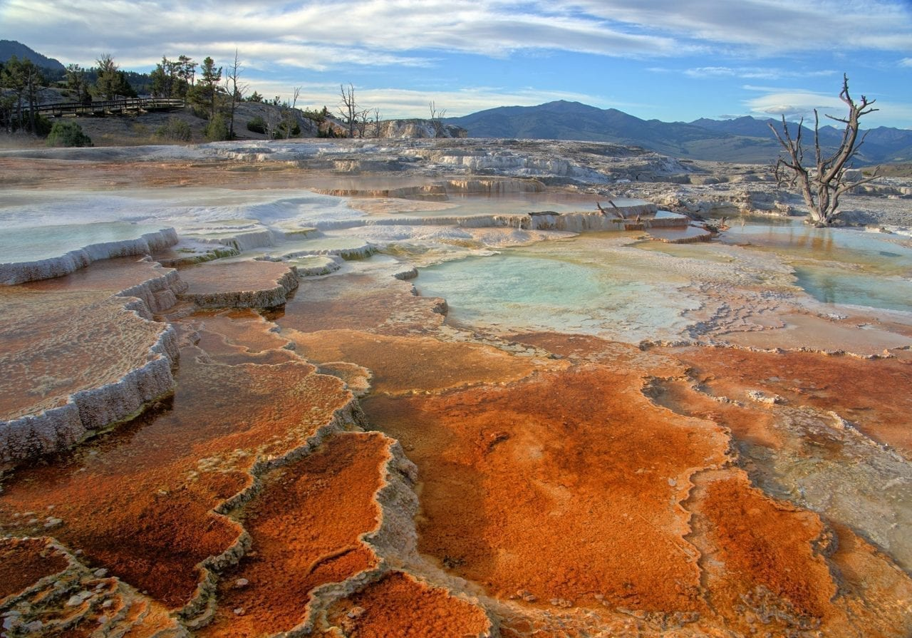 Shades of Red, Orange, Blue and Turquoise in Mammoth Hot Spring