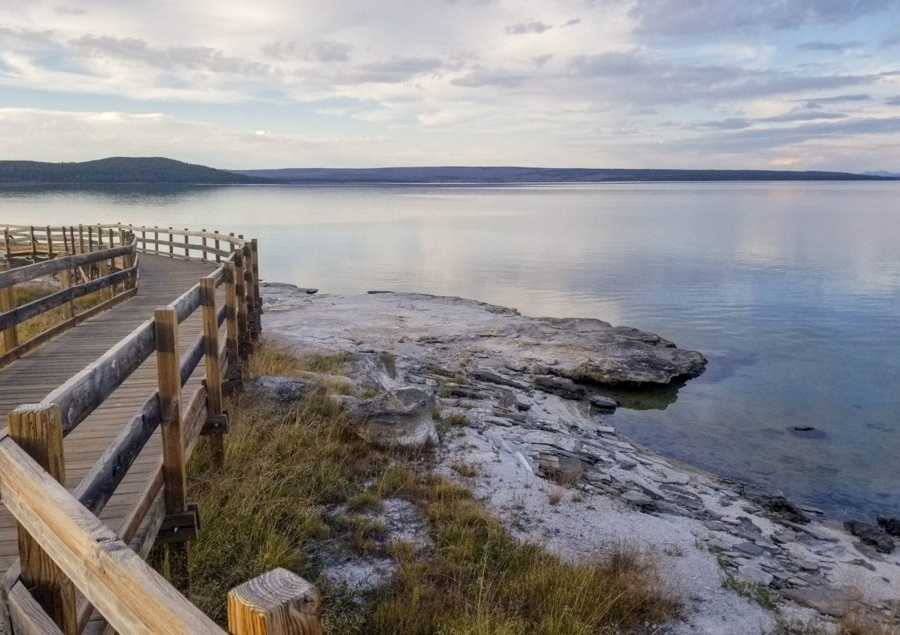 View of Yellowstone Lake from the boardwalk in West Thumb Loop Trail