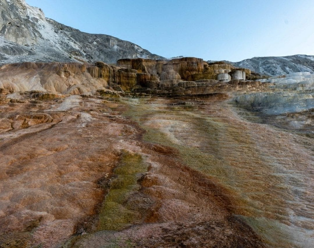 "This is known as the ""Mound Terrace"" in Mammoth Hot Springs (Pin #7 in Yellowstone National Park Map above)"