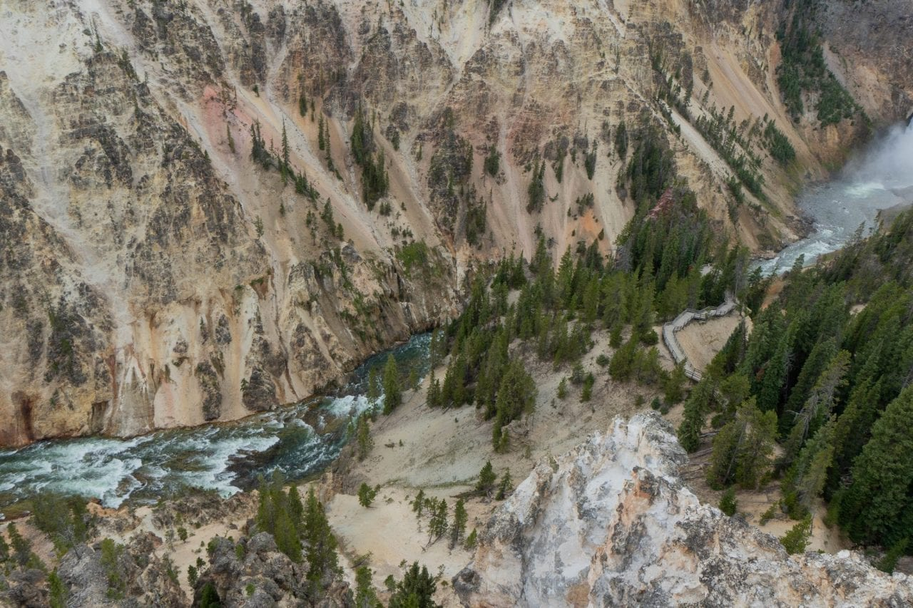 Yellowstone river flowing down the lower falls