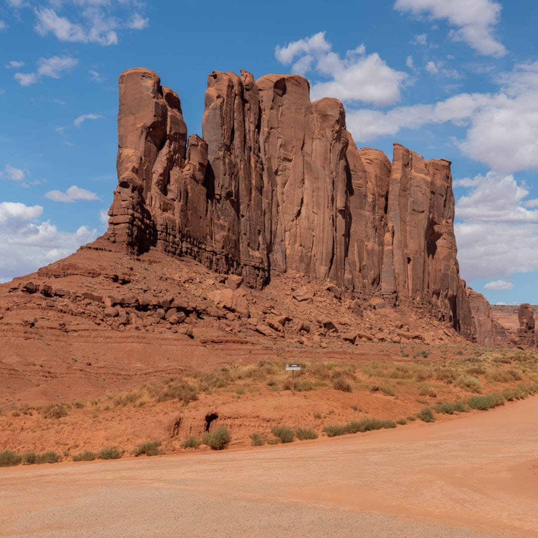 Elephant Butte rock formation in monument valley