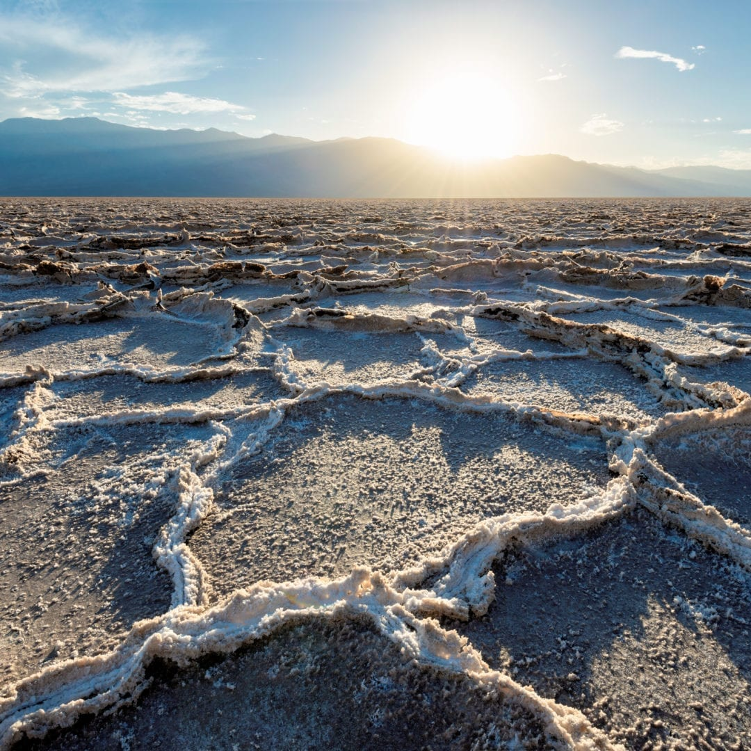 Sunset Badwater basin, Death Valley National Park, California.